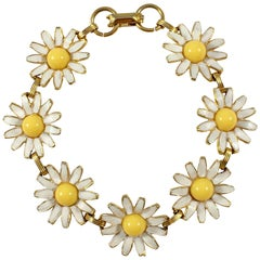 Weiss White and Yellow Enamel Daisy Bracelet, 1960s