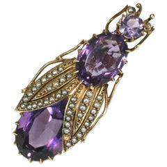 Victorian Amethyst and Seed Pearl Beetle