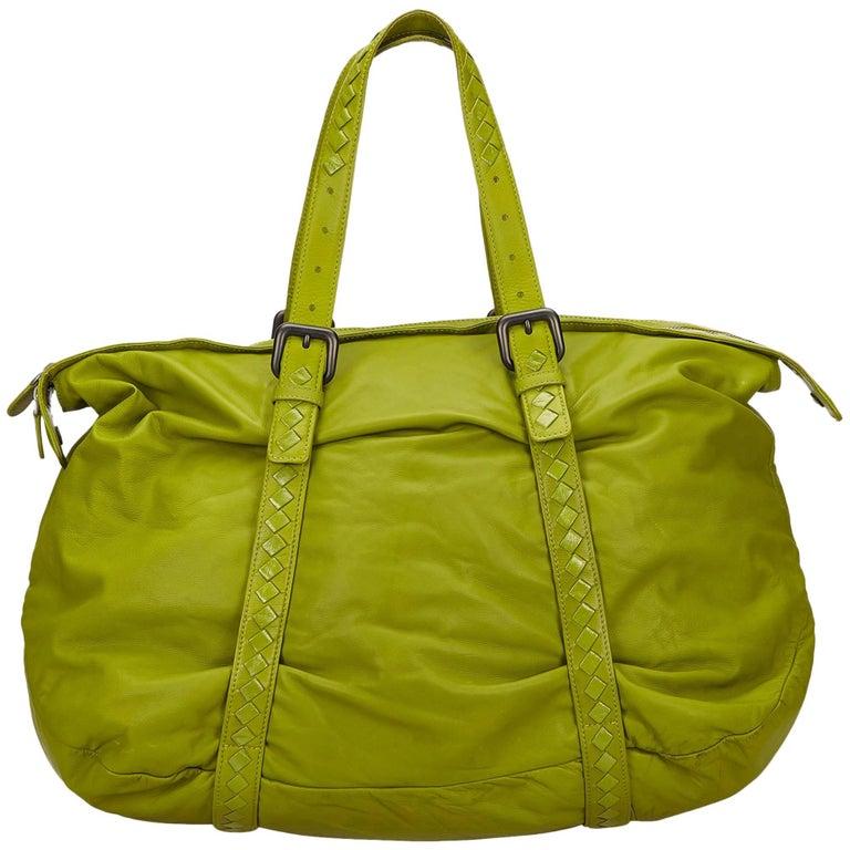 a04d3d645b20e4 Bottega Veneta Green Leather Shoulder Bag at 1stdibs