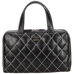 Chanel Black Surpique Mini Boston Bag