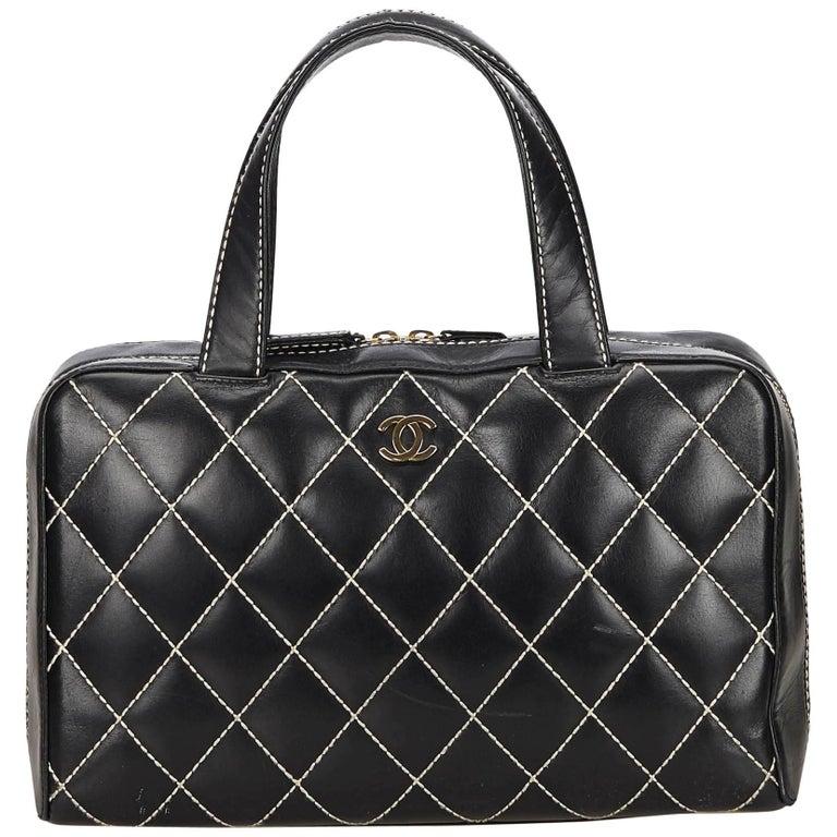 Chanel Black Surpique Mini Boston Bag