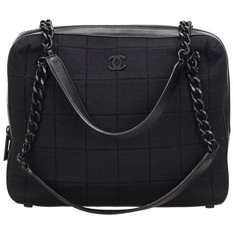 Chanel Black Choco Bar Chain Cotton Handbag