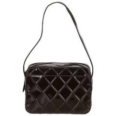 Chanel Dark Brown Patent Leather Cosmos Shoulder Bag