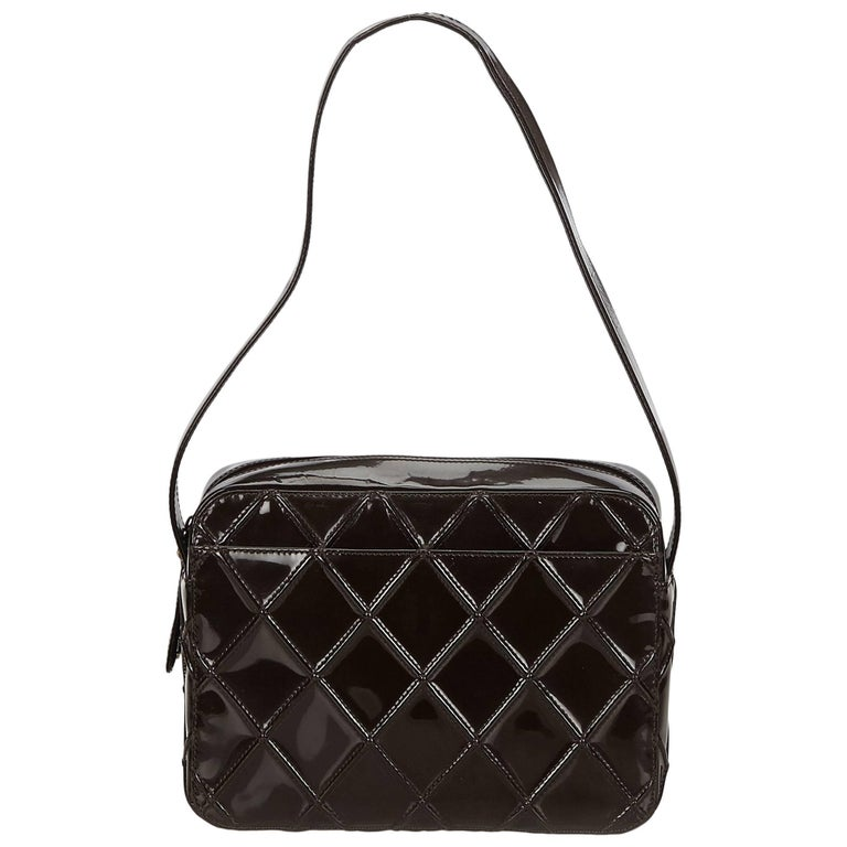 Chanel Dark Brown Patent Leather Cosmos Shoulder Bag For