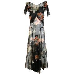 Floral Print Silk and Lace Gown, 1930s