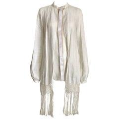 1990s Gianfranco Ferre White Linen and Silk Blouse