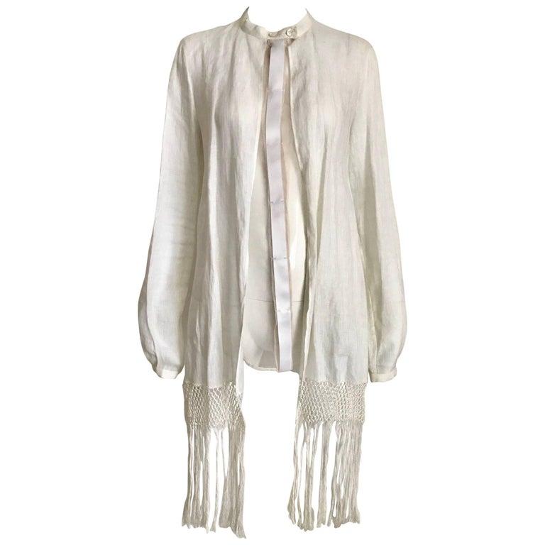 1990s Gianfranco Ferre White Linen and Silk Blouse