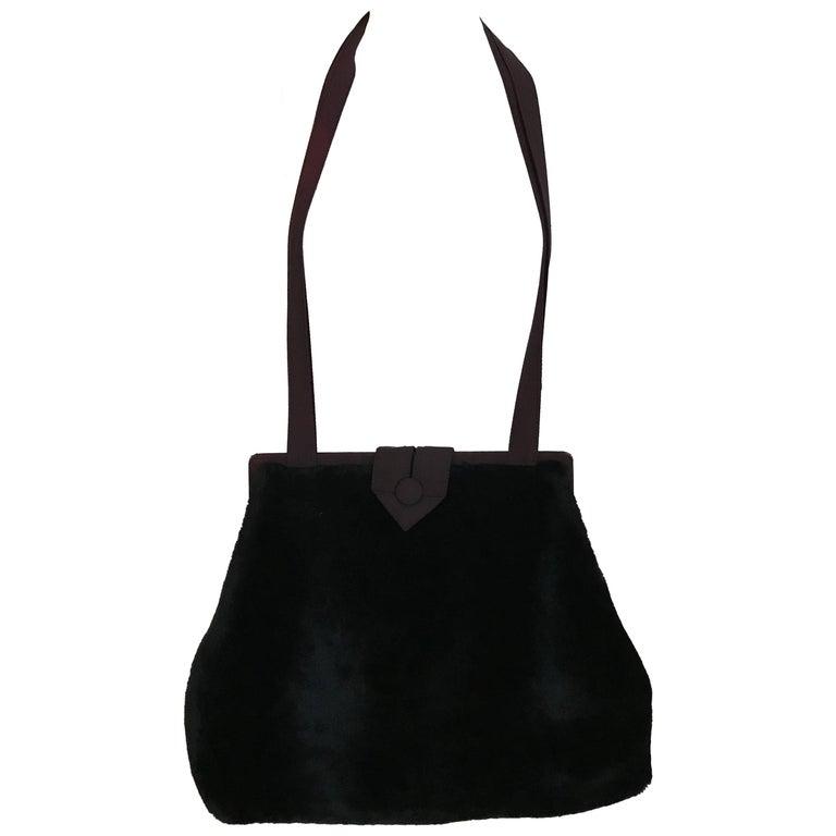1980s Norma Kamali  Faux Fur Oversized Shoulder Bag  For Sale