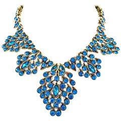 Vintage Oscar de la Renta Turquoise Blue 90s Gold Beaded Pendant 1990s Necklace
