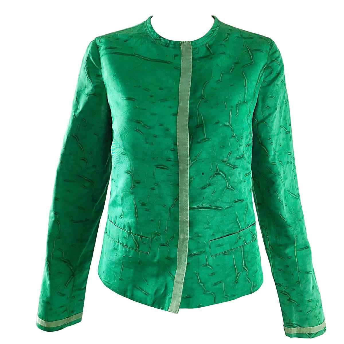 Prada 1990s Kelly Green Tie Dyed Vintage 90s Does 60s Pillbox Jacket w/ Pockets