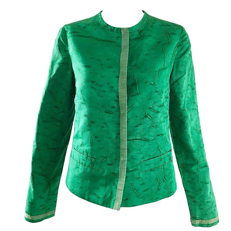 d9fd698f6683 Prada 1990s Kelly Green Tie Dyed Vintage 90s Does 60s Pillbox Jacket w/  Pockets For