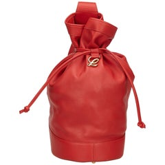 Loewe Red Leather Drawstring Backpack