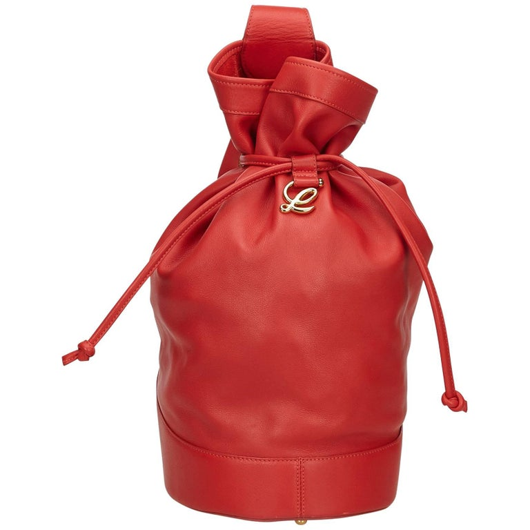 Loewe Red Leather Drawstring Backpack