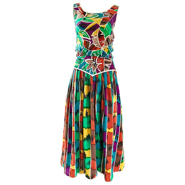 Vintage Oscar de la Reta Size 8 / 10 Kaleidoscope Print Silk Sleeveless Dress