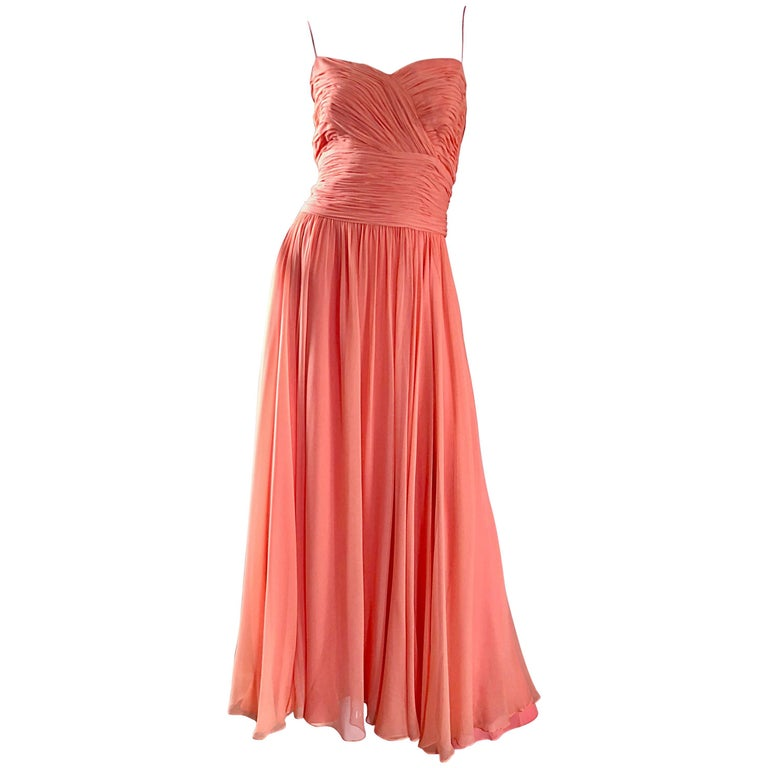 Gorgeous 1950s Saks 5th Ave. Salmon / Coral Pink Silk Chiffon Vintage 50s Gown For Sale