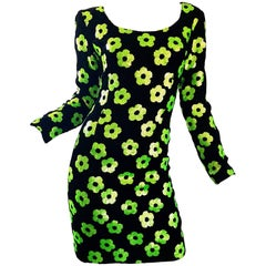 1990s Steve Stolman Black + Neon Green Sequin Flower Size 8 Velvet Bodycon Dress