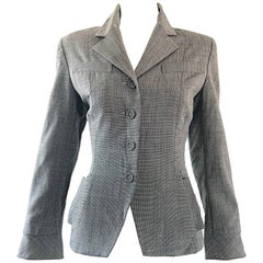 Vintage Norma Kamali 1980s Does 1940s Sz 4 Gray Cropped Fitted 80s Blazer Jacket