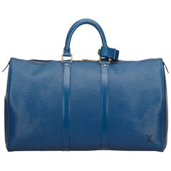 Louis Vuitton Blue Epi Keepall 45