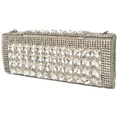 Contemporary Silver Metallic Swarovski Crystal Rhinestone Evening Bag