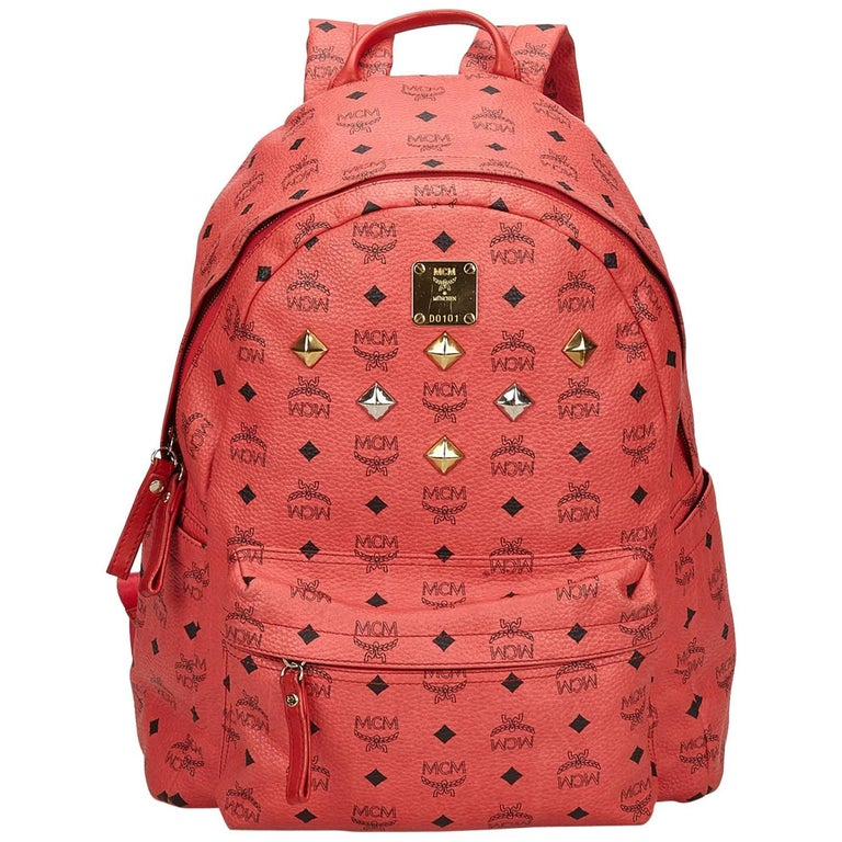MCM Pink Visetos Studded Leather Backpack