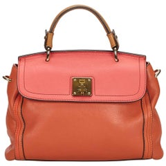 MCM Orange x Pink Bicolor Leather Satchel