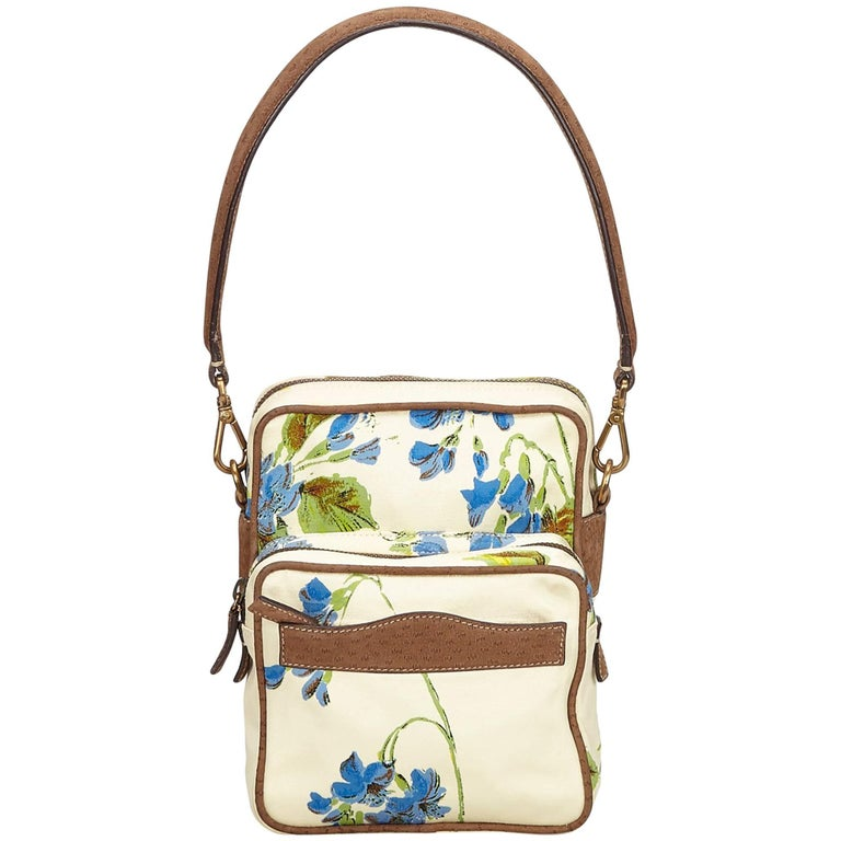 Prada White x Multi Floral Print Nylon Handbag