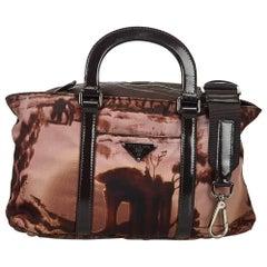 Prada Brown 2 Way Printed Nylon Handbag