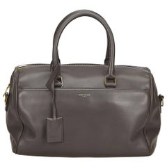 YSL	Gray Leather Classic Duffle 12