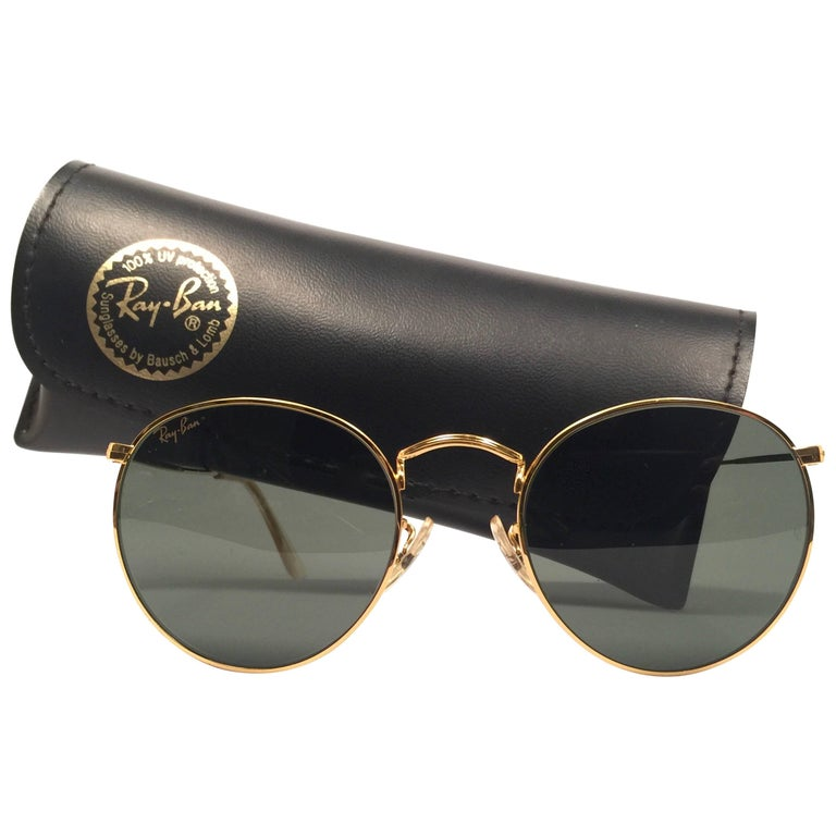 New Vintage Ray Ban Gold Round G15 Grey Lens  B&L 1980's Sunglasses