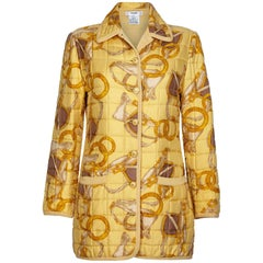 Celine Yellow Equestrian Print Silk Quilted Jacket, 1980s