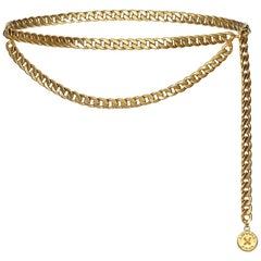 Chanel 1980s Gold Tone Double Chain Belt With Medallion Button Charm