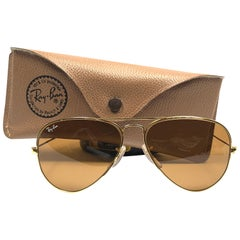 New Vintage Ray Ban Aviator 58MM B15 Brown Lenses B&L Sunglasses