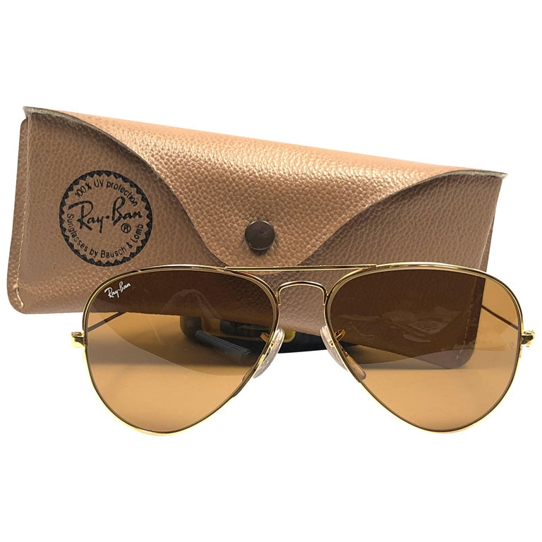 58435411edc9 New Vintage Ray Ban Aviator 58MM B15 Brown Lenses B L Sunglasses For Sale