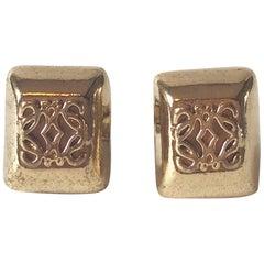 LOEWE gilt metal cufflinks. 1980's