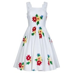 French 1950s White Cotton Summer Dress With Embroidered Chenille Flowers