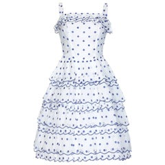 Vintage 1950s French Couture Dress in White and Blue Polkadot Organza