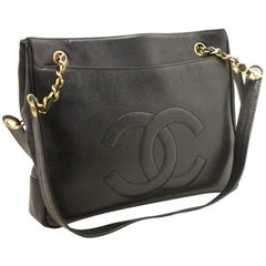 CHANEL Caviar Large Chain Shoulder Bag Black CC Leather Gold