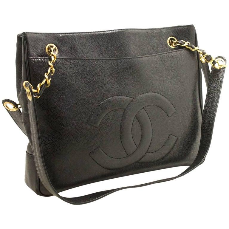 21cef12989e6 CHANEL Caviar Large Chain Shoulder Bag Black CC Leather Gold For Sale