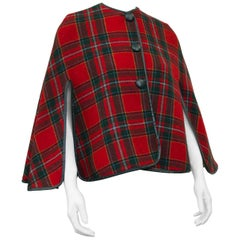 1960's Reversible Plaid Wool Short Cape