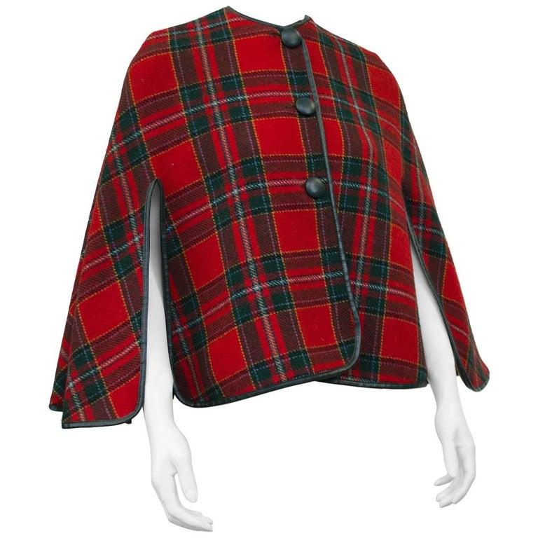 1960's Reversible Plaid Wool Short Cape