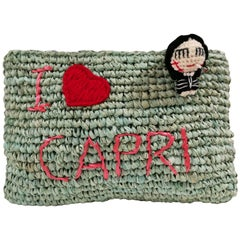Mua Mua I Love Capri Raffia Light Green Clutch Pochette