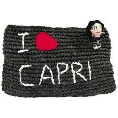 Mua Mua I Love Capri Raffia Black Clutch Pochette