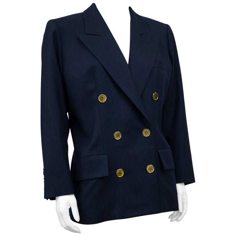 1980s St. Laurent/YSL Navy Wool Blazer