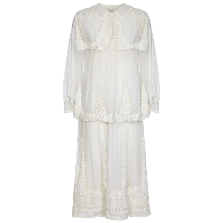 Antique Ivory Tulle Dress with Ballet Russe Style Knotted Tunic, 1910s