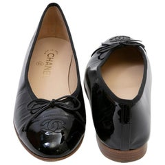 Chanel Black Patent Leather Ballerinas