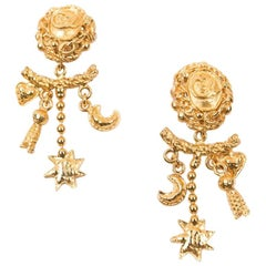 Christian Lacroix Vintage Gilded Metal Clip-on Earrings