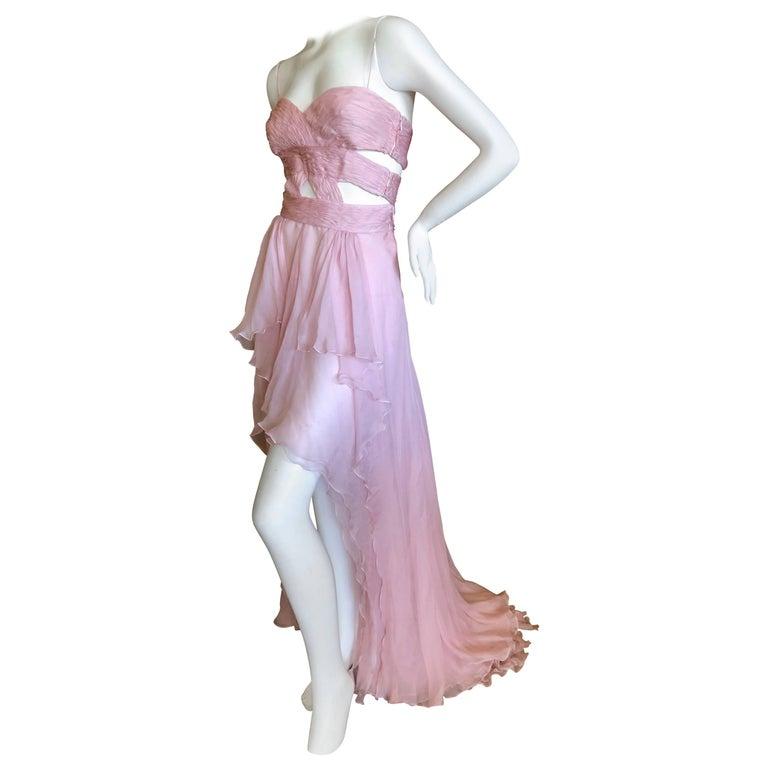 Valentino Pale Pink Silk Chiffon Pleated Revealing Goddess Dress