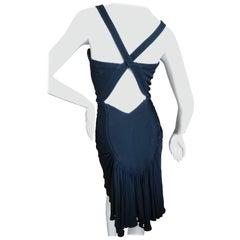 Azzedine Alaia Vintage 1990's Black Ruched Cross Back Mini Dress