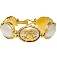 Chanel Gold Tone Pearlescent Double CC Oval Link Bracelet, 1990s