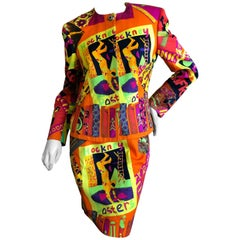 Gianni Versace 1987 David Hockney Poster Russian Ballet Print Cotton Skirt Suit
